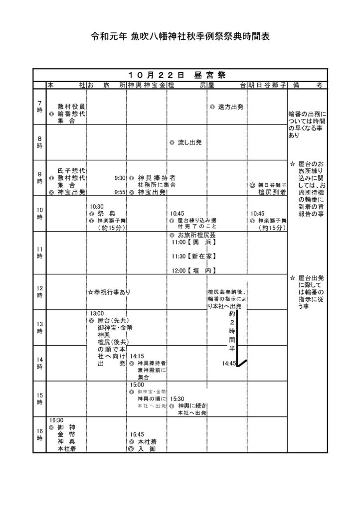 令和元年秋季例祭スケジュール2